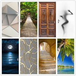 Adhesivo 3D para puerta de paisaje bonito para sala de estar, dormitorio DIY, papel tapiz autoadhesivo de PVC, calcomanías de Mural impermeables, adhesivo