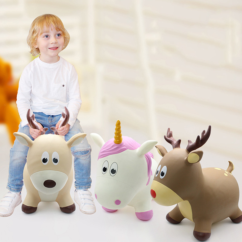 Children Inflatable Jumping Horse Animal Small Rocking Horse Baby Rubber Pima Extra-large Thick Explosion-Proof Outdoor Toys
