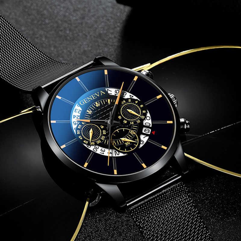 Relojes Masculino Mens Orologi di Moda In Acciaio Inox di Lusso di Visualizzazione del Calendario Analogico Da Polso Al Quarzo Orologi di Affari blu Orologio