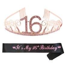 Doce tiara de festa de aniversário 16, coroa de cetim com faixa para menina 16, aniversário, princesa, decoração de festa, bolo, presentes para festa