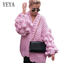 YEYA New Arrival Autumn Knitted Cardigans Coat Fashion Long Sleeve Womens Handmade Grape Ball Crochet Cardigan High Quality