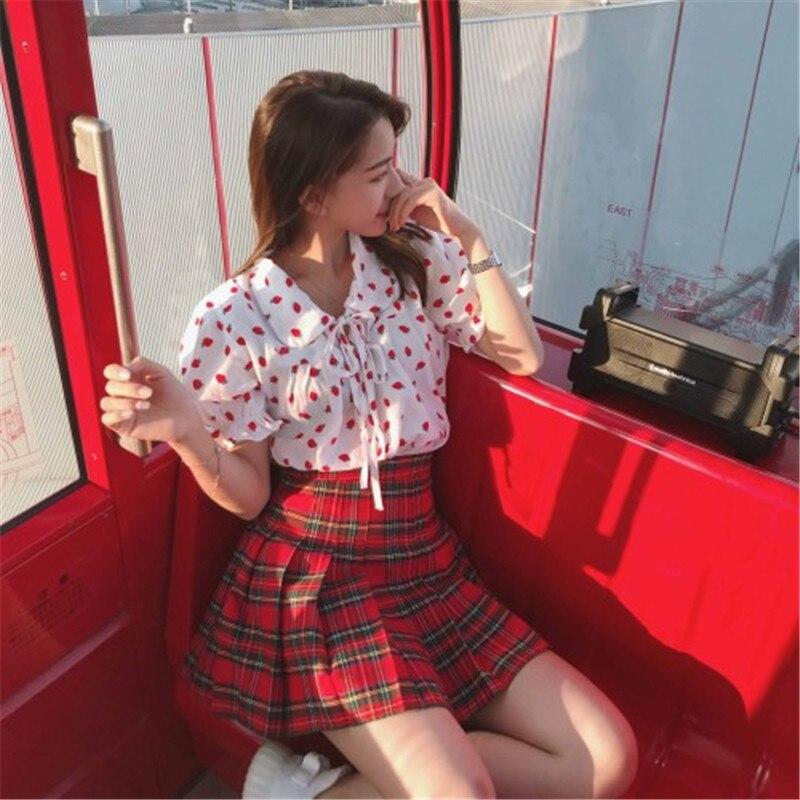 Women Pleat Skirt Harajuku Preppy Style Plaid Skirts Mini Cute Japanese School Uniforms Ladies Jupe Kawaii Skirt Saia Faldas
