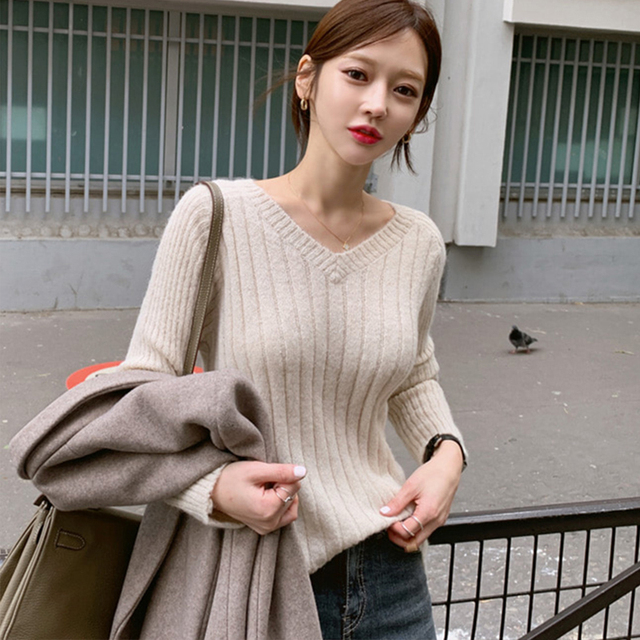 Ailegogo Casual Women Pullovers Spring Autumn Knitted Female Slim Fit Solid Color Sweater Knitted Ladies Knitwear Tops 5