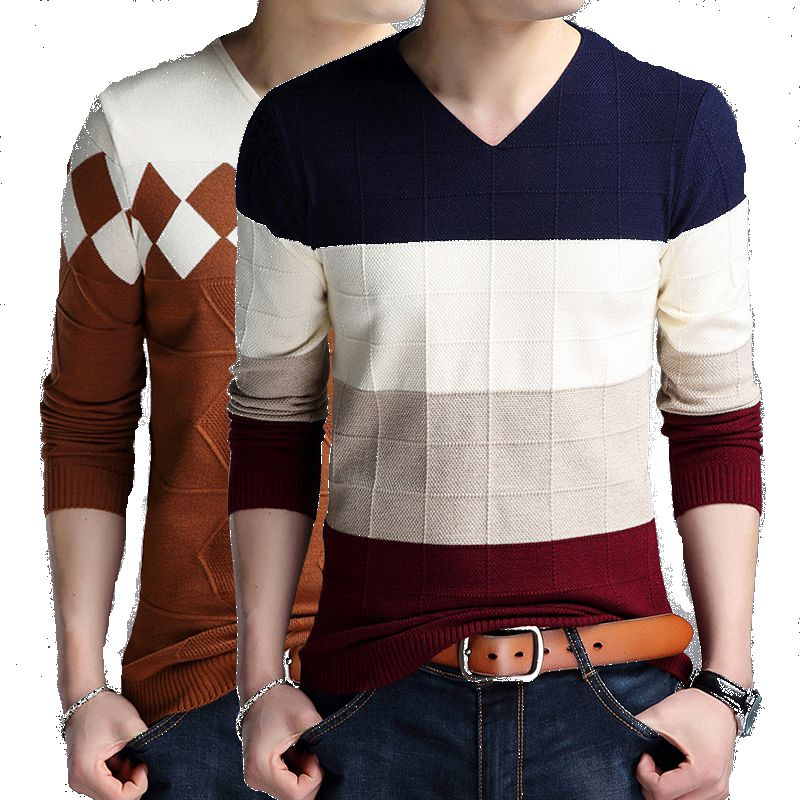 2018 Striped Men Pullover Sweaters Masculino Male Casual Cashmere Christmas Sweater Knitwear Plus Size Cotton Shirt Male 4XL