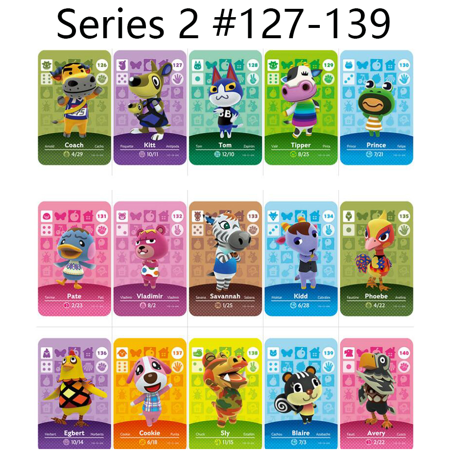 Series 2 (127 To 139) Animal Crossing Card Amiibo Locks Nfc Card Work For NS Games Series 2 (129 To 139)
