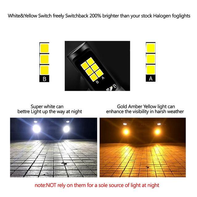 Areyourshop 2 pièces LED lumières H3 COB ampoule blanc/jaune double couleur Kit pour antibrouillard universel voiture antibrouillard ampoules accessoires