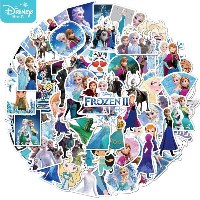 50Pcs Disney Frozen Princess Girl Stickers Cute Cartoons Guitar Luggage Waterproof Sticker Skateboard Laptop Stationery Kids Toy