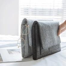 Felt Bedside Caddy Storage Bag- Bed Skirt Storage Pocket Organizer for Bedroom, College Dorm Room,Under Mattress Holder Bag цена и фото