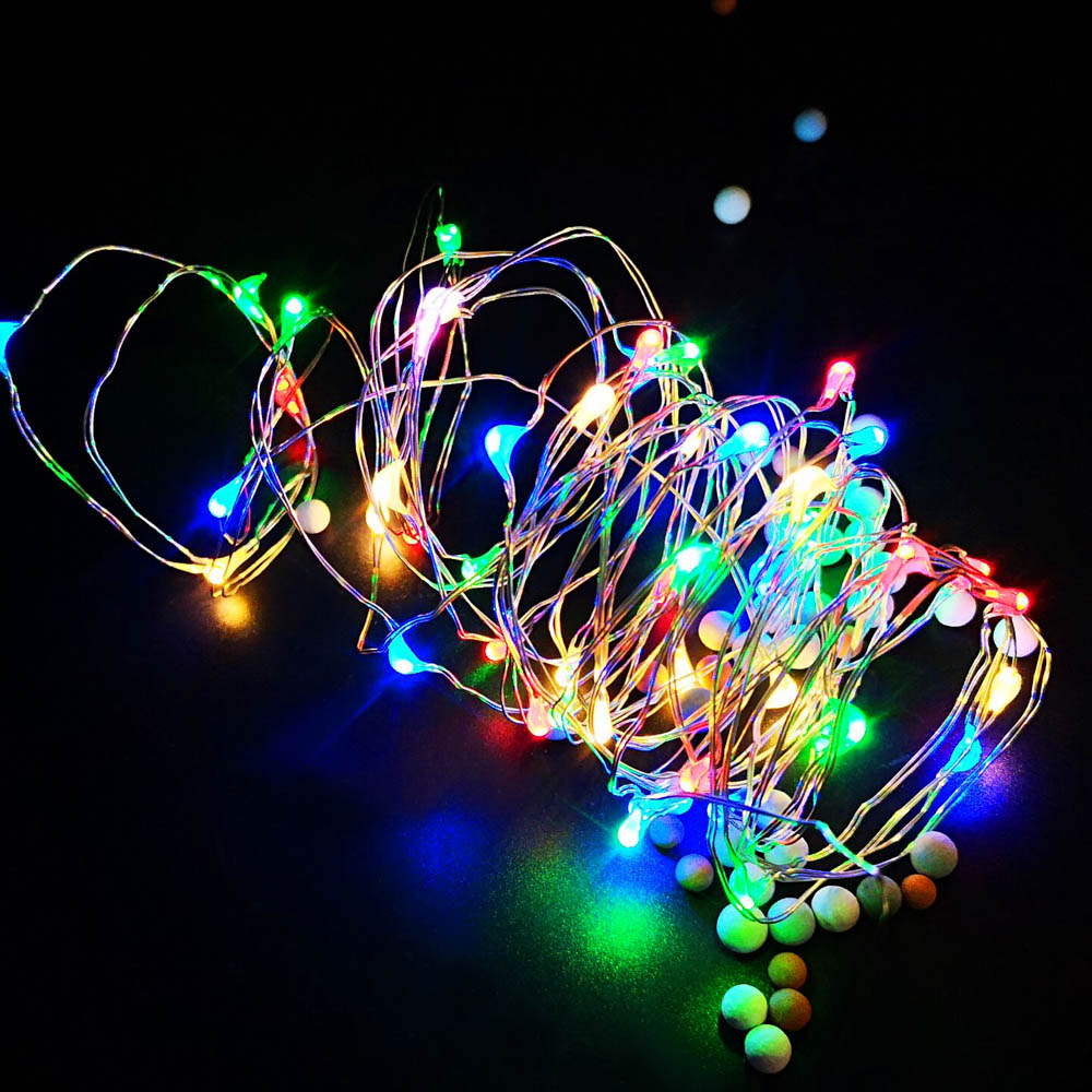 Sliver Wire Fairy Garland String Lights 1M 2M 3M 5M 10M 12M Battery Operated Waterproof Christmas Outdoor Wedding Party Decor