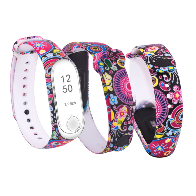 for Mi Band 4 Strap Replacement Bracelet for Xiaomi miband 3 4 Universal silicone Colorful flowers wrist strap for mi3 belt