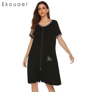 Image 4 - قميص نسائي من Ekouaer قميص نوم من القطن برقبة دائرية وأكمام قصيرة وسحاب أمامي فستان نوم فضفاض فستان نسائي للنوم
