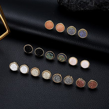 Luokey 2020 Fashion Alloy Resin Ear Studs For Women Vintage Geometric Round Earrings Statement Earrings Daily Party Jewelry 2020 kiss me brand statement earrings 2017 geometric synthetic stone alloy vintage earrings for women fashion jewelry