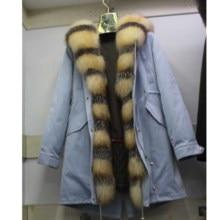 Linhaoshengyue新スタイルのウサギの毛皮裏地服女性90センチメートルロングとキツネの毛皮のドア制御