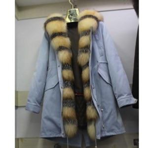 Image 1 - Linhaoshengyue חדש סגנון ארנב פרווה בטנת בגדי נשים 90cm ארוך עם פרוות שועל דלת שליטה