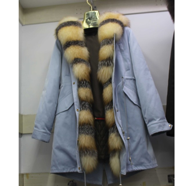Linhaoshengyue חדש סגנון ארנב פרווה בטנת בגדי נשים 90cm ארוך עם פרוות שועל דלת שליטה