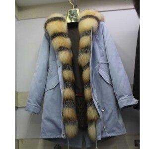 Image 1 - Linhaoshengyue yeni stil tavşan kürk astar elbise kadın 90cm uzun tilki kürk kapı kontrol