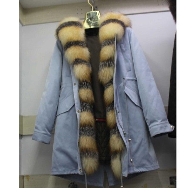 Linhaoshengyue yeni stil tavşan kürk astar elbise kadın 90cm uzun tilki kürk kapı kontrol