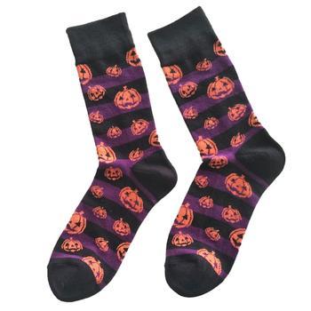 2019, calcetines de estampación en caliente para fiesta de Halloween, estampado de murciélago de calabaza, calcetines transpirables de algodón para hombres, calcetines para hombres, calcetines divertidos, Prin
