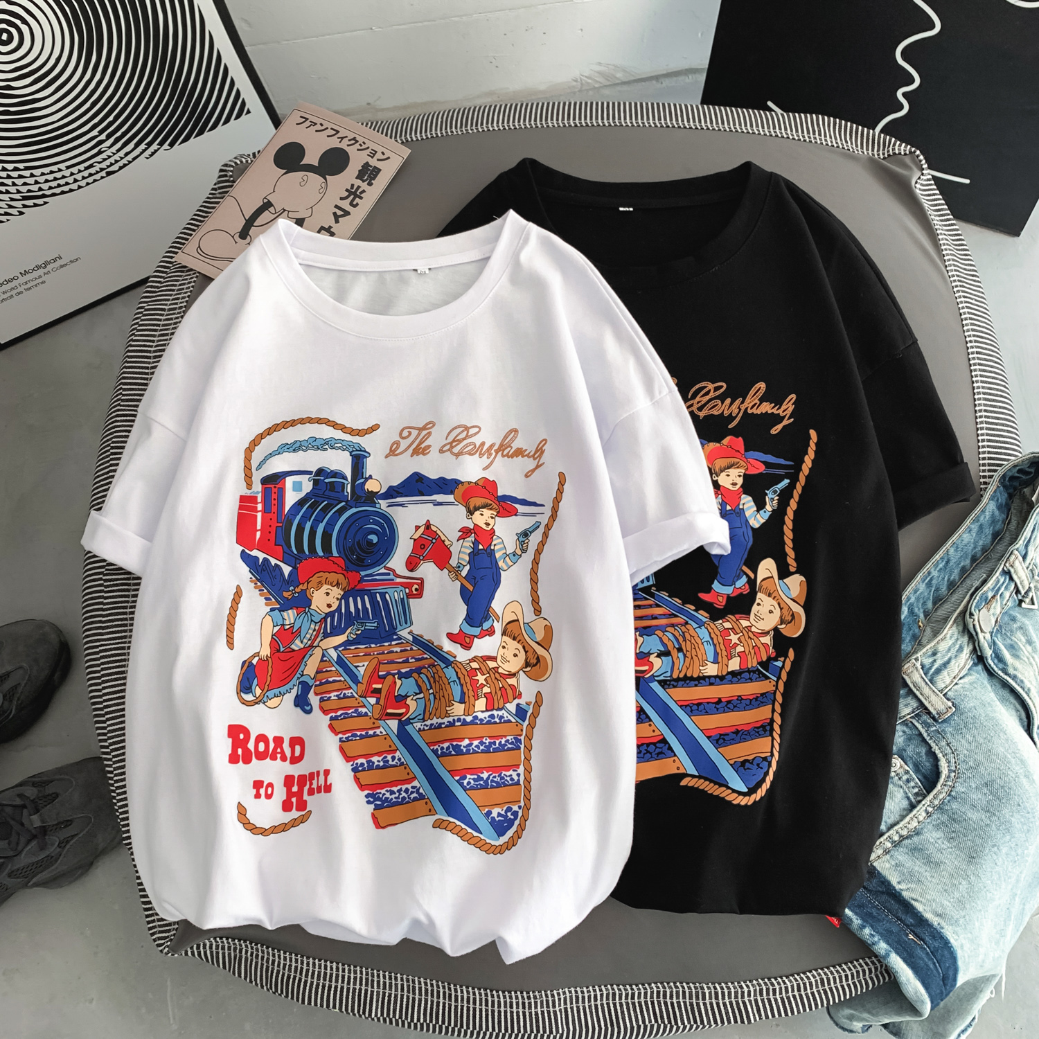 Men's Short-sleeved <font><b>TShirt</b></font> 2020 Summer New <font><b>Hong</b></font> <font><b>Kong</b></font> Style Cotton Short-sleeved Shirt Male Loose Couple Printed T-shirt image
