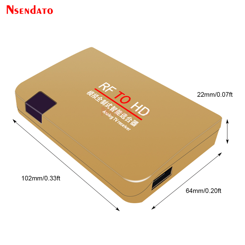 Eboxer RF zu HDMI All-Standard Konverter Analog TV Receiver Adapter Fernbedienung 100-240V Rosengold