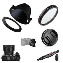 4 in 1 kiti 67mm UV filtre ve Lens Hood Cap temizleme kalemi adaptör halkası Canon Powershot SX70 SX60 SX50 HS G3X dijital kamera