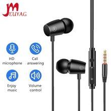 Meuyag 3.5mm com fio fone de ouvido com microfone earloop estéreo à prova dwaterproof água esportes música fones para jogging android/ios smartphones
