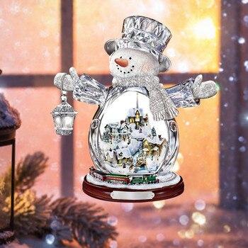 Escultura giratoria de árbol de navidad, decoraciones de tren, adhesivos para pegar...