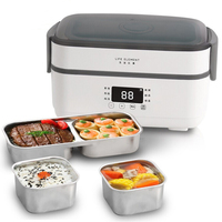 Electric Lunch Box Office Worker Heated Lunch Box Insulation Lunch Box Electric Automatic Heating Mini Rice Cooker 2 Layers 220V