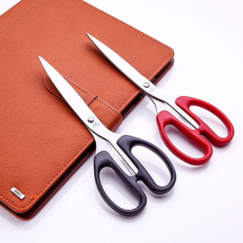 Deli Scissors 6034 Household Sewing Paper Cutting Knife Office Sharp Stainless Steel Art Scissors Rui Yao Wholesale