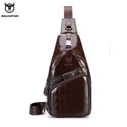 Bullcaptain 2019 dos homens de couro genuíno saco do mensageiro ocasional crossbody saco da forma dos homens bolsa de peito masculino bolsa de ombro