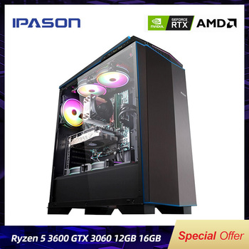 IPASON Gaming PC AMD 6-Core R5 3600 RTX3060 12G DDR4 16G RAM 500G M.2 Water-Cooled Gaming Desktop Computers Assembly Gaming PC 1