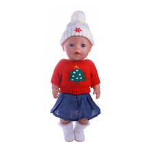 2pcs/American Doll Accessories Clothes Skirts Shoes Christmas Set for 18-inch American Dolls and 43cm Baby Birth