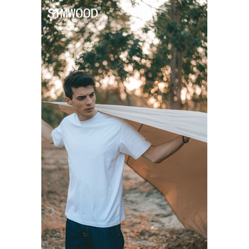 SIMWOOD 2021 Summer New 250g 100% Cotton Fabric T-shirt Men High Quality Solid Color Drop Sleeve Loose Tshirts Oversize Tops 2