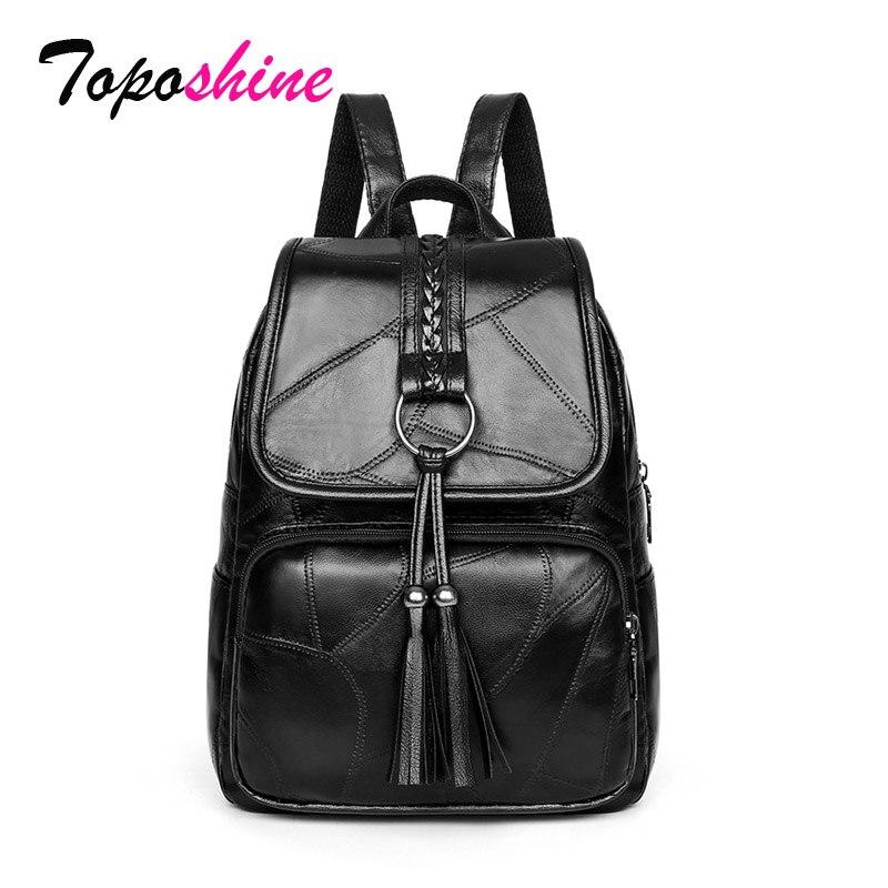 Toposhine Tassel Retro Large Backpack Women PU Leather Women's Backpacks Travel Backpacks Shoulder School Women Bags Mochila