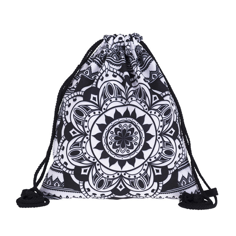 New Fashion Women MANDALA BLACK Drawstring Backpack 3D Printing Travel Softback Women Mochila Drawstring Bags