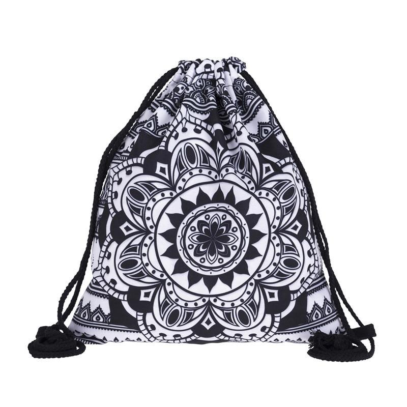 New Fashion Women MANDALA BLACK Drawstring Backpack 3D Printing Travel Softback Women Mochila Drawstring Bags