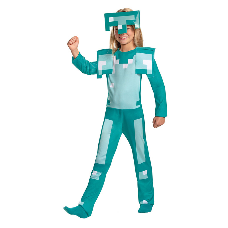 Child Minecrafted Diamond Armor Kids Game Character Halloween Cosplay Costume