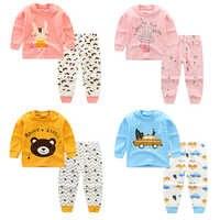 Unisex 6M-4 años de edad 2 unids/set pijamas ropa interior para niños conjunto de algodón de cuello redondo para niños ropa de dibujos animados de manga larga para niñas