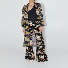 Autumn Chiffon Dress Women Casual Print Floral Loose Classical Straight Mid-calf Long Dresses For Lady mid calf flower print straight womens pants