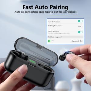 Image 5 - TWS V5.0 블루투스 이어폰 8D 스테레오 무선 헤드폰 스포츠 무선 이어폰 LED 2000 mAh 충전 빈 전화 홀더
