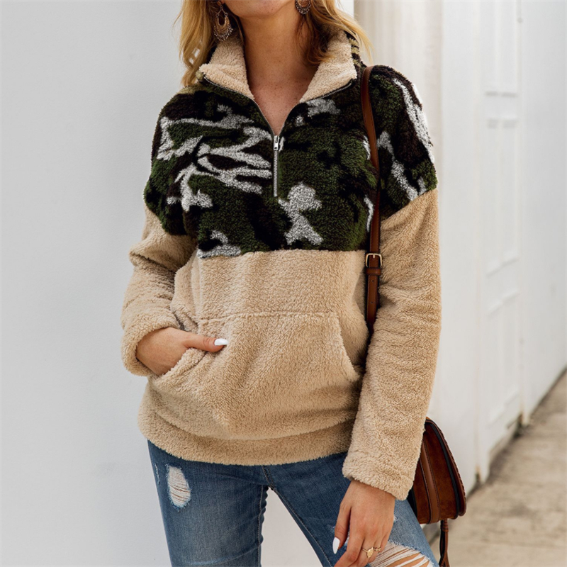 Fleece Sweatshirts Fashion Camo Patchwork Fluffy Thick Sweatshirt Warm Zipper Pullovers Women Winter Clothes Coat Sherpa Tops