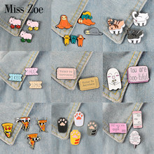 2 ~ 4 stks/set Party Time Emaille Pin Pizza Luiaard Poot Hond Kat Varken Broche Bag Kleding Revers Pin Badge leuke Cartoon Dier Sieraden Gift(China)