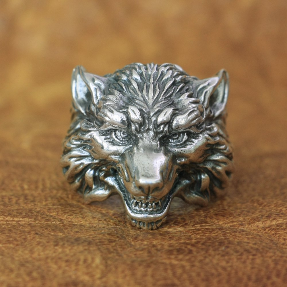 High Details Wolf Ring 925 Sterling Silver Mens Biker Punk Ring TA163 US Size 7~15