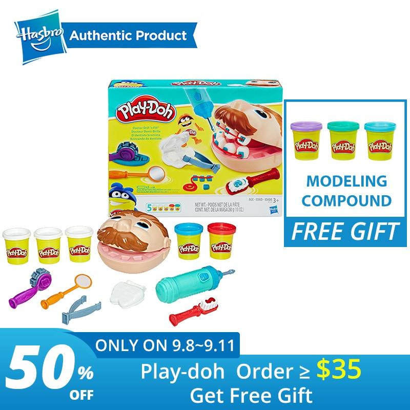 Hasbro jouer Doh petit dentiste coloré boue plaisir tarte enfants doux argile Playa jeu créatif Doh bricolage jouets ensemble Slime clair moelleux
