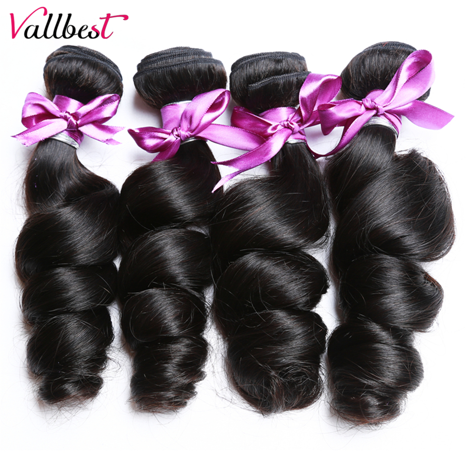 Vallbest-extensiones de cabello humano Remy ondulado mechones de pelo Natural brasileño negro, 1/3/4 unids/lote, 100%
