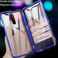 Frente + para trás lados duplos vidro transparente caixa magnética para oppo f11 f11pro f9 a7x a7 a5s a5 a3s a9 2020 a5 2020 a11x caso capa de metal