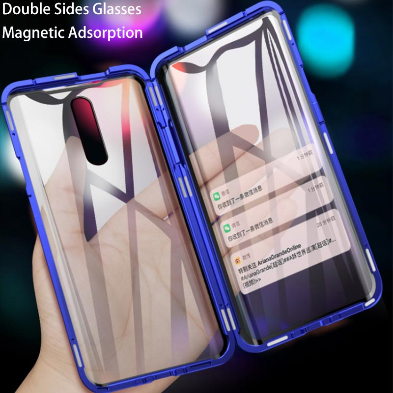 Front+Back Double Sides Clear <font><b>Glass</b></font> Magnetic <font><b>Case</b></font> For <font><b>OPPO</b></font> F11 F11Pro F9 A7X A7 A5S A5 <font><b>A3S</b></font> A9 2020 A5 2020 A11X Metal Cover <font><b>Case</b></font> image