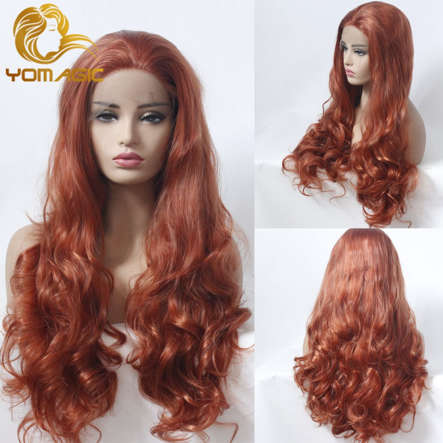 Yomagic 24 Hair Dark Orange Color Lace Front Wigs for Women Body Wave Synthetic Wig With Natural Hairline Heat Resistant Fiber