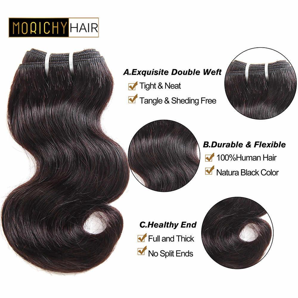 Mechones de pelo de la onda del cuerpo de morchy 8 pulgadas Super doble estiramiento extensión de cabello humano brasileño no Remy Color negro Natural