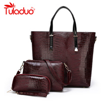 3 Sets Patent Leather Ladies Tote Bag Luxury Crocodile Pattern Handbag Purses Women Designer Classic Serpentine Shoulder Bags